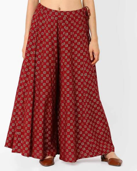 Printed Palazzo Pants With Tie-Up By Global Desi ( Maroon )