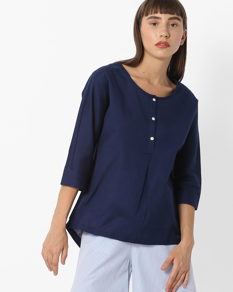 Cotton Top With Kimono Sleeves By FIG ( Blue )