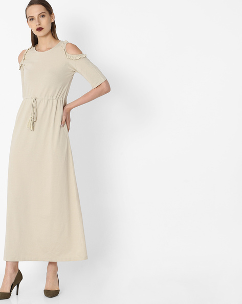 Maxi Dress With Ruffled Cold-Shoulder Sleeves By Project Eve WW Casual ( Beige )