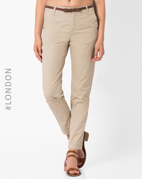 Tapered Leg Cotton Chinos By Marks & Spencer ( Stone )