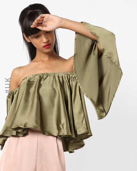 Off-Shoulder Top With Batwing Sleeves By INFLUENCE ( Khaki )