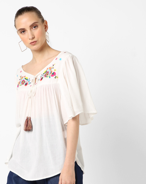 A-line Top With Embroidery & Bell Sleeves By RI-DRESS ( Offwhite )