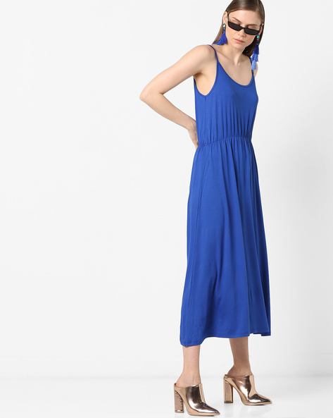 Knit Maxi Dress With Strappy Sleeves By Project Eve WW Athleisure ( Blue )
