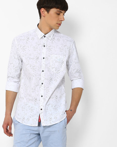 Printed Slim Fit Shirt By Killer ( White )
