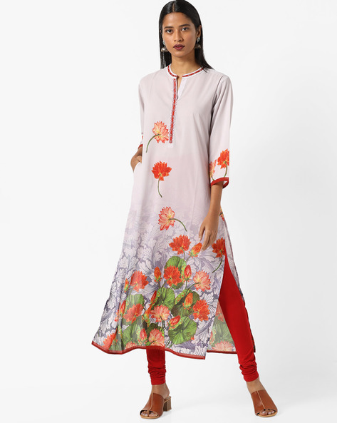 Floral Print Kurta With Mock Button Placket By Shree ( Grey )