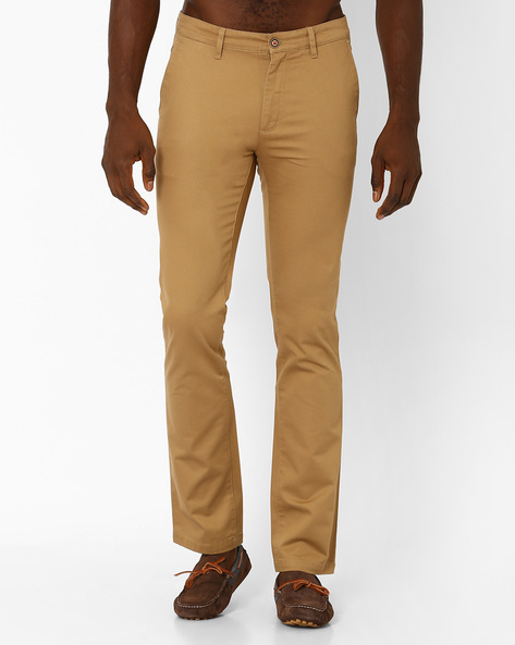 Cotton Slim Fit Trousers By Wills Lifestyle ( Yellow )