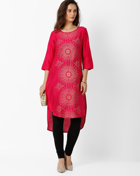 Printed High-Low Kurta By Global Desi ( Pink )