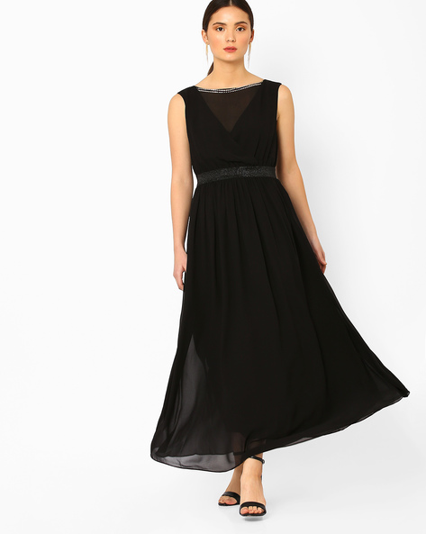 Maxi Dress With Embellishments By AJIO ( Black )