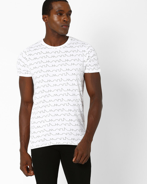 New Mills Geometric Print Slim T-shirt By SON OF A NOBLE ( White )