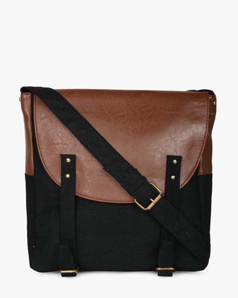 Canvas Messenger Sling Bag By Purseus ( Black )