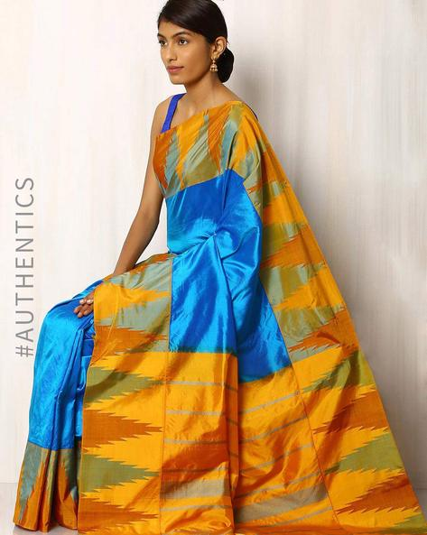 Handwoven Temple Border Pure Silk Saree By Rudrakaashe-MSU ( Lightblue )