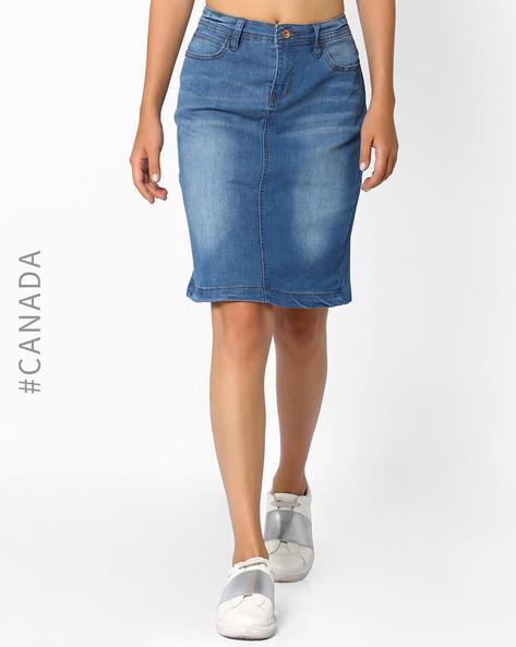 Denim Pencil Skirt By Point Zero ( Lightblue )
