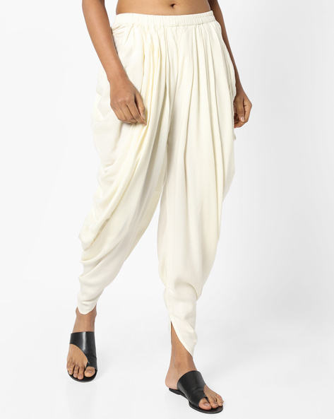 Dhoti Pants With Elasticated Waist By AJIO ( Offwhite )