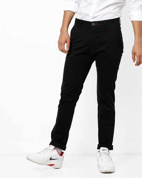 Mid-Rise Flat-Front Chinos By NETPLAY ( Black ) - 440807573021