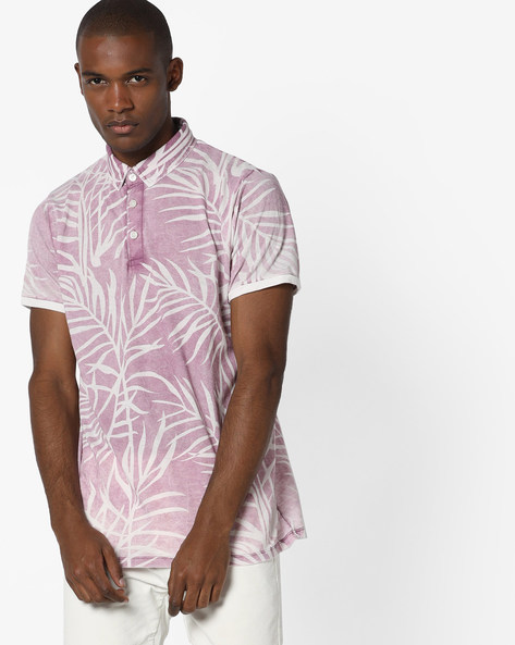 Tropical Print Polo T-shirt By RexStraut JEANS ( Pink )