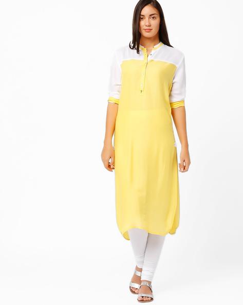 Kurta With Mandarin Collar By Tulsattva ( Yellow )