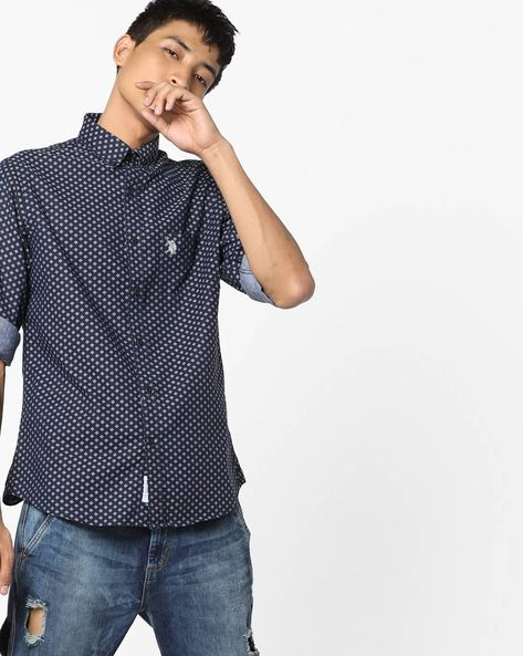Micro Print Cotton Shirt By US POLO ( Navy )
