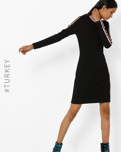 Bodycon Dress With Contrast Stripes By TRENDYOL ( Black )