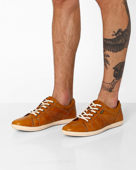 Genuine Leather Lace-Up Casual Shoes By RED TAPE ( Tan )