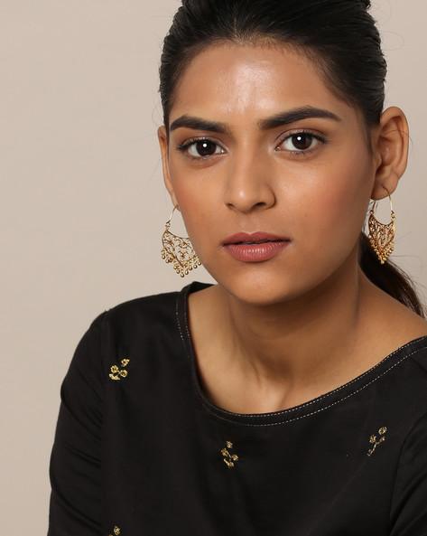 Gold-Plated Filigree Chandbali Earrings By Rubans ( Gold )