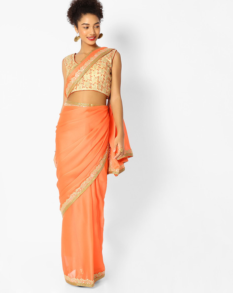 Chiffon Saree With Embroidered Zari Border By Majestic Silk ( Orange )