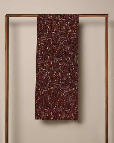 Printed Cotton Kalamkari Kurta Fabric By Indie Picks ( Maroon )