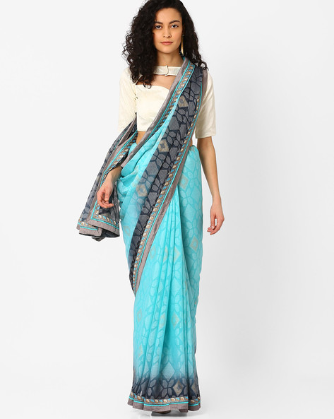 Saree With Woven Border By Pihu ( Blue )