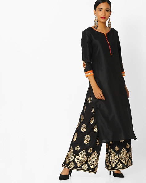 Straight Kurta With Embroidery By Indian Ink ( Black )