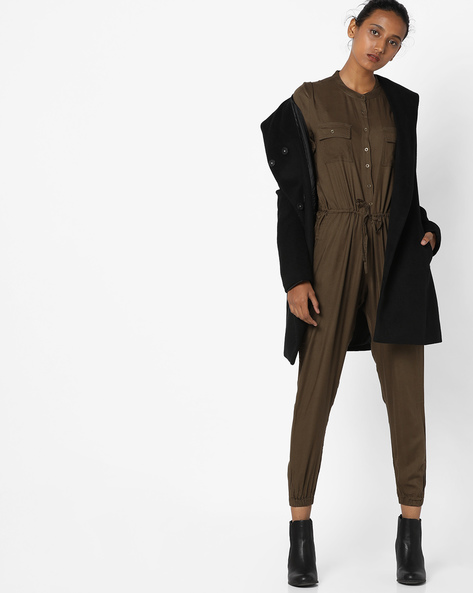 Jumpsuit With Button Placket By Fame Forever By Lifestyle ( Olive )