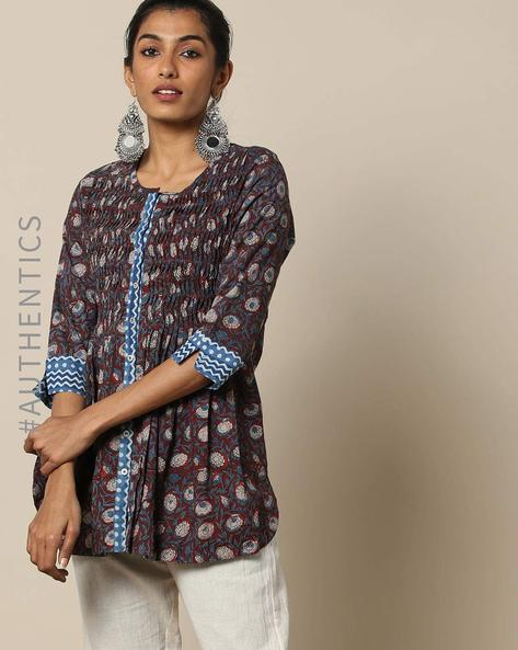 Bagru Handblock Print Cotton Kurti By SWADESH ( Maroonburg )