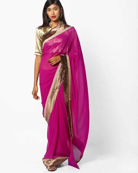 Saree With Embellished Border By Majestic Silk ( Maroon )
