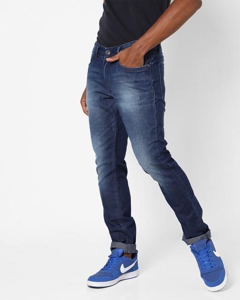 Lightly Washed Slim Fit Jeans By Highlander ( Blue )
