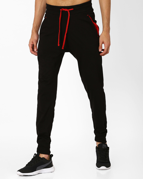 Cotton Joggers With Elasticated Waist By CHROMOZOME ( Black )
