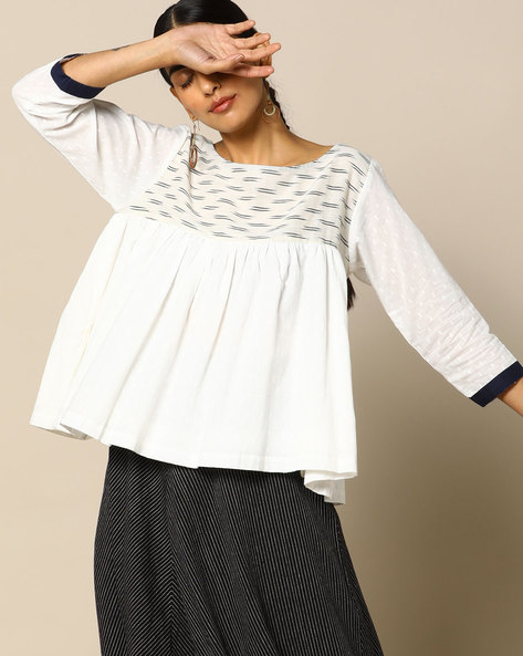 Handloom Cotton Top With Printed Yoke By Free Living ( White )