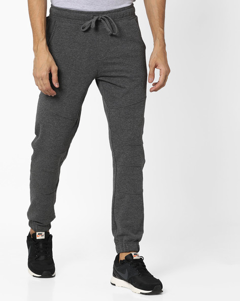 Panelled Joggers With Elasticated Waistband By AJIO ( Darkgrey )