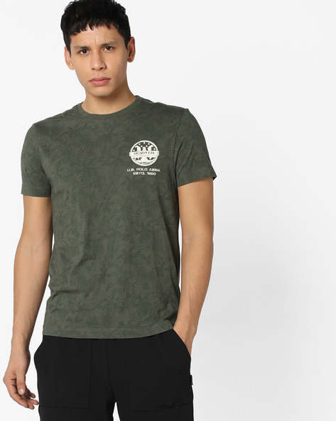 Tropical Print Crew-Neck T-shirt By US POLO ( Assorted )