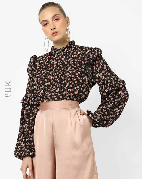 Floral Print Top With Baloon Sleeves By OEUVRE ( Multi )
