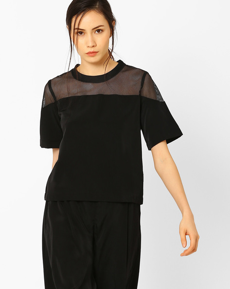 Boxy Top With Mesh Panel By AJIO ( Black )