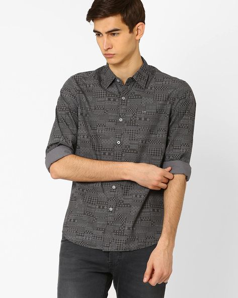 Printed Slim Fit Shirt By Lee ( Gray )