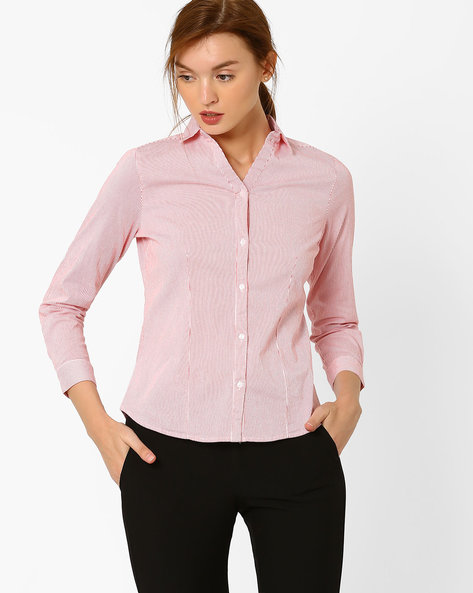 Striped Shirt With Curved Hem By FIG ( Pink )