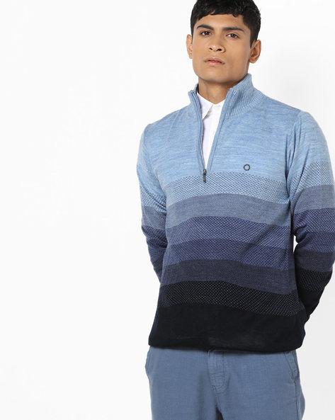 Flat-Knit High-Neck Pullover By PROLINE ( Navy )