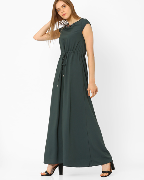 Maxi Dress With Embellishments By CHM ( Black )