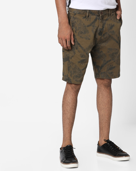 Tropical Print Over-Dyed Shorts By AJIO ( Olive )