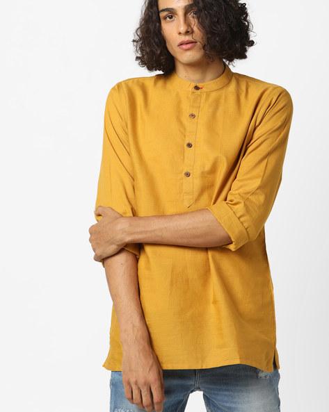 Cotton Shirt Kurta With Band Collar By ANTIFERRO ( Blue )