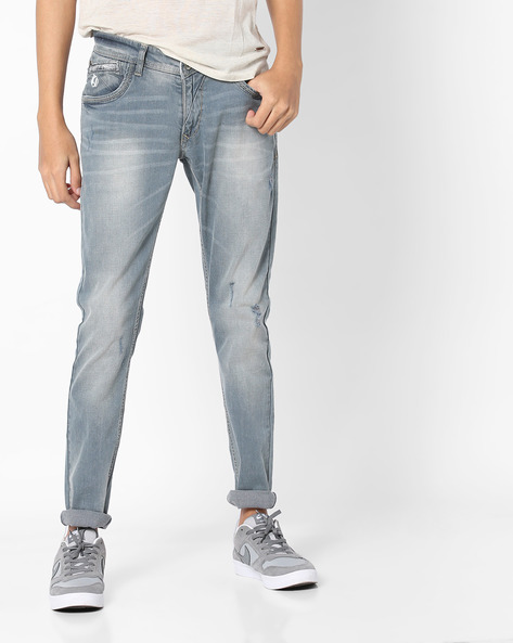 Washed & Distressed Skinny Jeans By SPYKAR ( Grey )