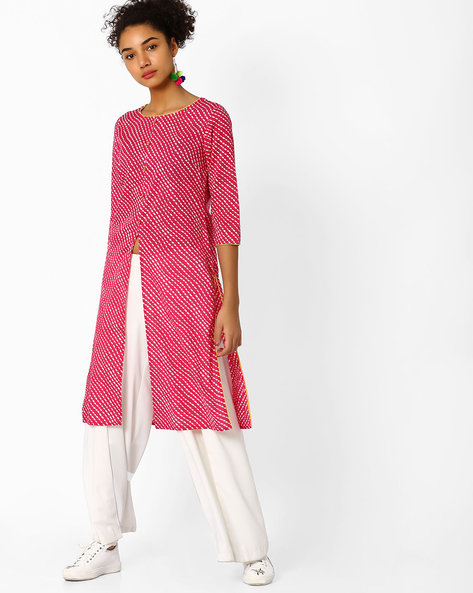 Printed Straight Cotton Kurta By AJIO ( Fuchsia )