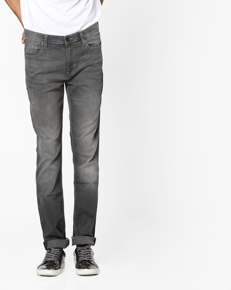 Lightly Washed Tapered Fit Jeans By Lee ( Black )