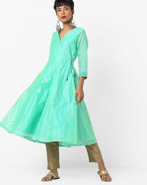 Chanderi Angrakha Kurta With Tassel Tie-Up By AJIO ( Lightblue )