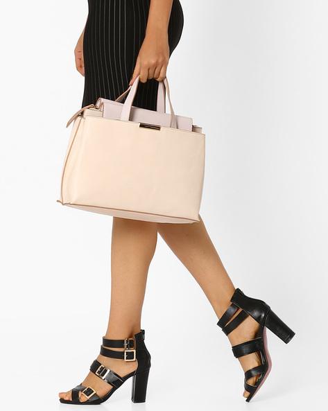 Handbag With Flat Handles By AJIO ( Pink )