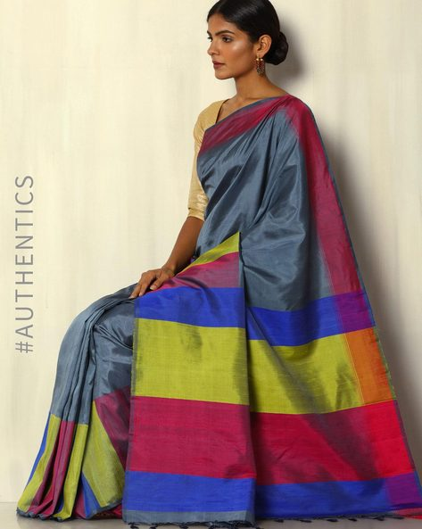 Handloom Pure Silk Saree By Pretty Woman ( Grey )